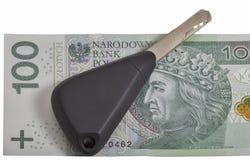 Car keys on Polish zloty note background Royalty Free Stock Image