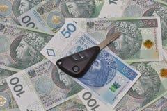 Car keys on Polish zloty notes background Stock Photos