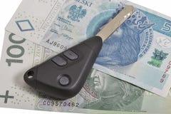 Car keys on Polish zloty notes background Royalty Free Stock Images