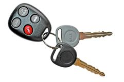 Car Keys with Remote Control. Set of car keys with keyless entry remote control.  Isolated image with clipping path Stock Photography