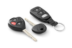 Car keys. With remote control over white background royalty free stock images