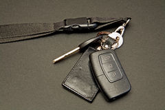 Car keys set with remote control. Set of car keys and a remote control unit and a pendant Stock Images