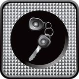 Car keys in silver checkered web icon Stock Image