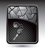 Car keys on silver cracked background Stock Photo