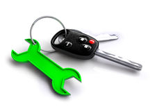Car keys with spanner icon keyring. Concept for vehicle maintenance and servicing plan. Stock Photos