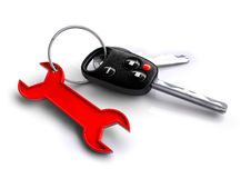 Car keys with spanner icon keyring. Concept for vehicle maintenance and servicing plan. Stock Image