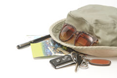 Car keys and sunglasses on a map Stock Image