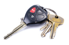 Car Keys. On white background , Old and Used royalty free stock photos