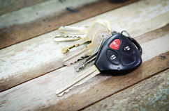 Car Keys. On wood table background , Old and Used stock image