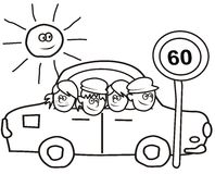 Car and kids - coloring book Royalty Free Stock Photos