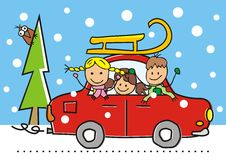 Car, kids and sledge Royalty Free Stock Image