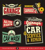 Car labels, signs, emblems, logos and stickers collection. Garage, car service, auto parts, car wash. Vector set Royalty Free Stock Photos