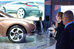 Car LADA XRAY greeted visitors to the exhibition Stock Photography