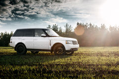 Car Land Rover Range Rover stand on green field near forest at sunset Stock Photography