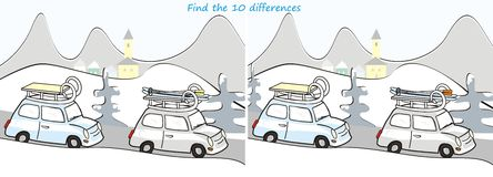 Car and landscape-10 differences. Search the ten differences in the figures - a car, a winter landscape Royalty Free Stock Photo
