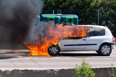 Car with large flames Royalty Free Stock Photography