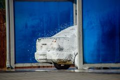 Car in the lather on the car wash. Wash the car at the car wash royalty free stock images