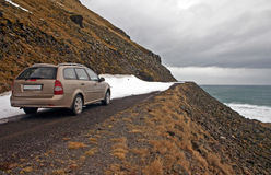 Car in Latrabjarg Royalty Free Stock Photography