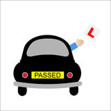 Car Learner Driver Passed Test. Just passed driving test with car and arm throwing out L-Plates concept Royalty Free Stock Photo