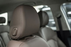 Car leather headrest. Royalty Free Stock Image