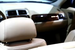 Car / leather interior. Detail of a car leather interior Royalty Free Stock Photo