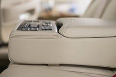 Modern car leather interior detail. Stock Photos