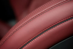 Car leather seat material with stich. Royalty Free Stock Photo
