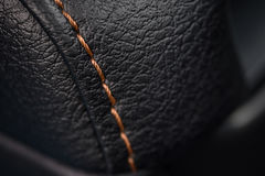 Car leather texture with stitch. Royalty Free Stock Photography