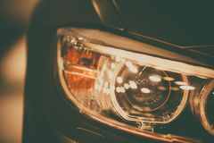 Car LED headlight. Close up shot of a car`s LED headlight Royalty Free Stock Images