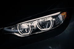 Car LED headlight. Detail on one of the LED headlights of a car Stock Photo