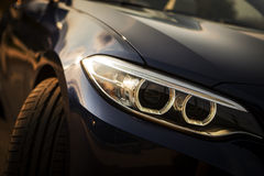 Car LED headlight. Detail on one of the LED headlights of a car Royalty Free Stock Photos