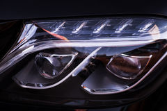 Car LED headlight. Detail on one of the LED headlights of a car Royalty Free Stock Images