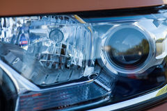Car LED headlight. Detail on one of the LED headlights of a car Stock Image