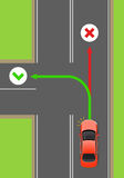 Car Left Turn Rule Flat Vector Diagram. Car left turn with turned light signal flat vector illustration. Road rule violation example on top view diagram. Traffic Royalty Free Stock Images