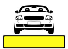 Car Licence Plate. Vector illustration of car with blank licence plate panel for custimizing Stock Image