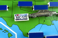Car with License Plate on Texas State Map Royalty Free Stock Image