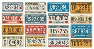 Car License Plates For Vehicles Signboards Vector Royalty Free Stock Image
