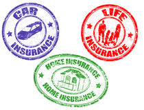 Car, life and home insurance stamps stock illustration