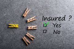 Car, life insurance, home, travel and healt insurance. Insure concept. Survey with question Insured, Yes or no. Car, life insurance, home, travel and healt Stock Photo