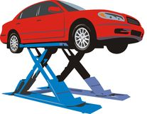 Car on lift. Scene car on hydraulic lift expects repair royalty free illustration