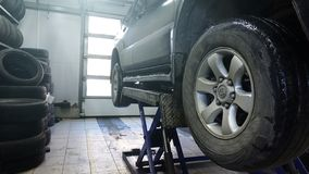 The car on the lift. royalty free stock photo