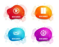 Car, Lift and No parking icons. Ferris wheel sign. Transport, Elevator, Car park. Attraction park. Vector. Liquid badges. Set of Car, Lift and No parking icons stock illustration