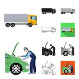 Car, lift, pump and other equipment cartoon,black,flat,monochrome,outline icons in set collection for design. Car. Maintenance station vector symbol stock Royalty Free Stock Image