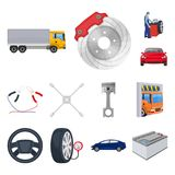 Car, lift, pump and other equipment cartoon icons in set collection for design. Car maintenance station vector symbol. Stock illustration Royalty Free Stock Image