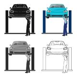 Car on the lift single icon in cartoon,outline,black style for design.Car maintenance station vector symbol stock. Illustration Stock Images
