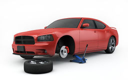 Car lifted on jack. Isolated with clipping path Stock Image
