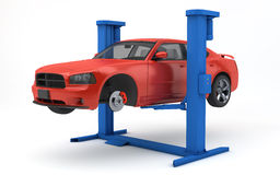 Car lifted up on lift Royalty Free Stock Images