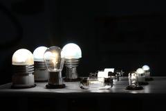 Car light bulbs. Various lit light bulbs used for automotive lighting applications Royalty Free Stock Photo
