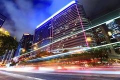 Car light through city Stock Photo