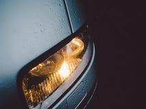 Car Light Drops Rain Stock Image